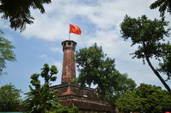 Tower with Vietnamese flag in Hanoi Royalty Free Stock Photography
