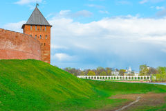 Tower and the view of YaroslavDvorische. Veliky Novgorod Royalty Free Stock Photo