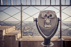 Tower Viewer Telescope. Binoculars on the Empire State Building observatory viewing deck Stock Photos