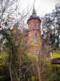 The tower of Villa Steisel in Malmedy, Belgium built in 1897, architectural detail. November view to the tower of Villa Steisel in Malmedy, Belgium built in 1897 stock images