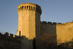 Tower & Wall of Avignon, France. Sunset cast a warm light on the wall and towers surrounding the historic part of Avignon, France Stock Photos