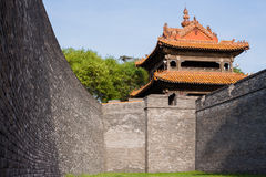 Tower and wall of Chinese traditional style Stock Image