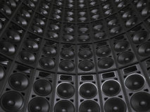 Tower wall of concert speakers Royalty Free Stock Photo