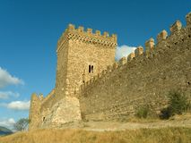 Tower and wall of fortress. Tower and wall of old fortress Royalty Free Stock Photo