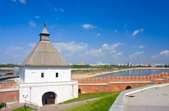 Tower and wall of Kazan Kremlin Stock Photography