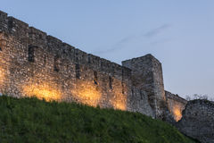 The tower and wall of medieval fortifications Royalty Free Stock Image