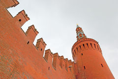 Tower on wall of Moscow Kremlin stock images