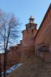 The tower and wall the Nizhny Novgorod Kremlin stock image