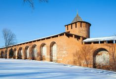 The tower and wall the Nizhny Novgorod Kremlin Royalty Free Stock Image