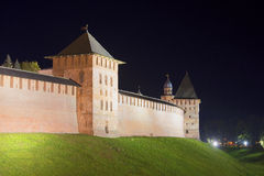 Tower and wall of Novgorod Kremlin in september at night. Veliky Novgorod Stock Photos