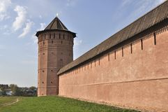Tower and wall of old russian monastery in Suzdal Stock Photos