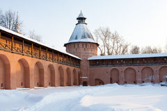 Tower And Wall Of Old Russian Monastery In Suzdal stock image