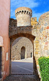 Tower and wall in Tossa de Mar Stock Photo