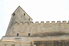 Tower and walls of castle Kost. Defend tower and walls of Gothic castle Kost in Czech Republic Stock Image