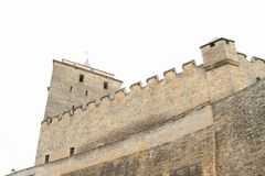 Tower and walls of castle Kost. Defend tower and walls of Gothic castle Kost in Czech Republic Royalty Free Stock Photo