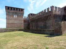 The tower and walls of the medieval castle of Soncino - Cremona. View of the medieval castle of Soncino in the province of Cremona - Italy Stock Photo