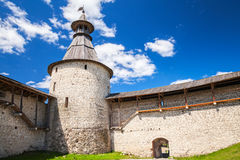 Tower and walls of old fortress. Kremlin of Pskov Royalty Free Stock Images
