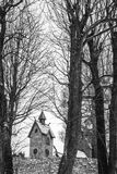 The tower of the Wang Temple in Karpacz. The tower of the medieval Wang Temple in Karpacz, Poland, photographed in winter. It is a Norwegian stave church which Royalty Free Stock Photography