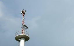 Tower Warning,tsunami warning. Alert tower,Hall alarms Coast Stock Image