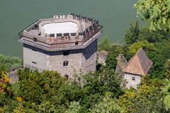 The Salamon tower of the castle of Visegrad, Hungary from the citadel above royalty free stock image
