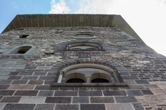 The renovated Salamon tower of the medieval castle in Visegrad, Hungary viewing from a low angle stock images