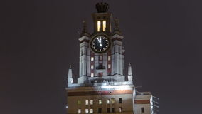 Tower with watch of The Main Building Of Moscow stock footage