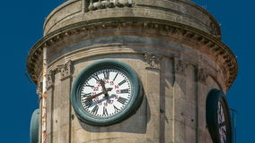 Tower with watch on The Palacio da Bolsa timelapse stock video
