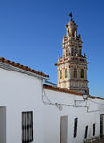 Tower with weathervane. Tower witch weathervane witch shaped of the Church of St. Mary of the Oak and Saint John the Baptist in Burguillos del Cerro, a royalty free stock image