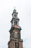 Tower of Wester Kerk, Amsterdam, Netherlands Royalty Free Stock Photo