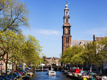 The Tower of Wester. Is the very place that can be seen from many points of Amsterdam. It was thanks to her that the Church of Westerkerk became the most famous Stock Photography