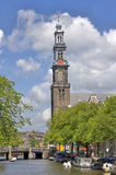 Tower of Westerkerk in Amsterdam Stock Photos