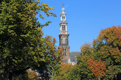 Tower of the Westerkerk church in Amsterdam, Holland Stock Photos