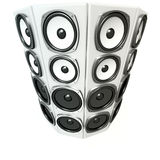 Tower of white sound boxes Royalty Free Stock Photo