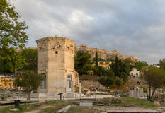 Tower of the Wind-gods in Roman Agora and Acropolis in the backg Stock Photography