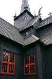 Tower and windows of the Lom Stave Church Royalty Free Stock Images