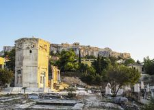 Tower of Winds and Acropolis, Athens, Greece Royalty Free Stock Images