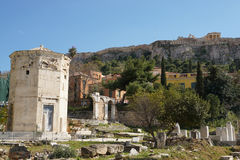 Tower of the Winds with Acropolis in background,Athens. Royalty Free Stock Photos