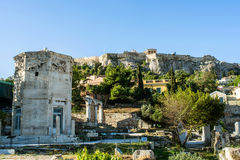 Tower of the Winds in Ancient Agora and Acropolis Stock Photos