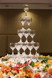 Tower of wine glasses Stock Photography