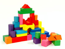 Tower  of wooden colorful toy blocks Stock Photos