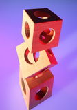 Tower of wooden cubes Stock Images