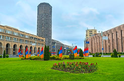 The tower of Yerevan Ararat Wine Factory. YEREVAN, ARMENIA - MAY 29, 2016: The view on the black tower of Yerevan Ararat Wine Factory from the Square of Russia Royalty Free Stock Photo