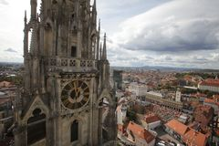 Tower of Zagreb Cathedral Stock Photos