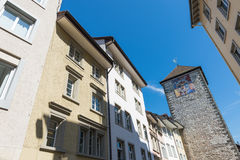 Tower with zodiac clock, center of Schaffhausen, Switzerland Stock Photo
