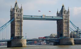 Towerbridge & red bus. The tower bridge in london with a red bus in the middle Stock Photo