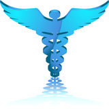 Towering 3D Caduceus. 3D medical symbol falling forward Stock Photos