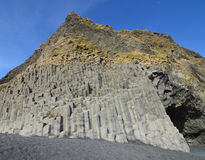 Towering Basalt Columns on Vik Black Sand Beach Royalty Free Stock Photography