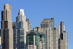 Towering city skyscrapers. Towering city skyscraper buildings in the city of Buenos Aires Royalty Free Stock Image