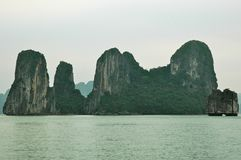Towering cliffs covered with forest in Halong Bay, Vietnam. stock images