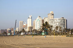 Towering Durban Beachfront Hotels Viewed from Beach Royalty Free Stock Photo